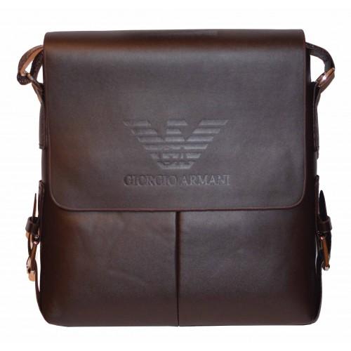 ac7ab0a9ad96 Сумка через плечо Armani кожаная коричневая купить в интернет ...